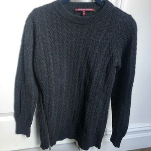 gray oversized cable knit sweater